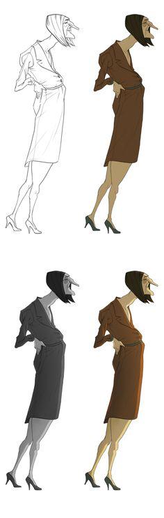 Line-up process - Vivien Bertin People Illustration, Character Illustration, Illustrations, Character Design Animation, Character Design References, Female Characters, Cartoon Characters, Character Concept, Concept Art