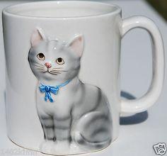 Otagiri Coffee Mug Hand Crafted Cat Kitten Animal Ceramic Bow Tie Collar Jan Кружки и чашки