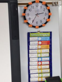 christinatek-I see this in every class room in all grades.  I think it's very useful for the kids to know what time they have class.  It sets them up for organization and time management.