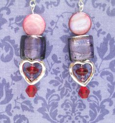 Silver heart red purple square and shell bead by CorbinGirl, $3.00