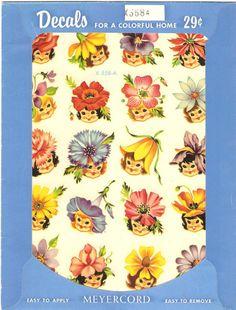 Vintage Meyercord decals 1950s. Vintage flower girls. by DarnSweet, £15.25