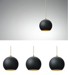 verner panton topan lamp in black with gold plated interior
