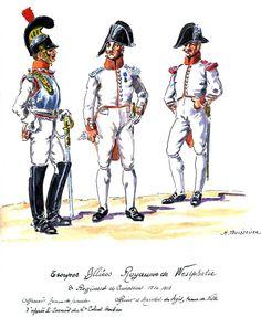 Westphalia; 2nd Cuirassiers, Officer, Tenue de Parade & Officer & Marechal des Logis, Tenue de Ville 1810-12