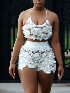 Low Cut Floral Embellished Sheer Mesh Cropped Twinset