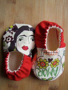 Frida Kahlo hand made baby shoes Sugar skulls day of by Ogresbyjam
