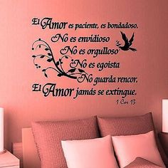 Decorative Vinyl Bible verse: 1 Corinthians 13 Source by Christian Decor, Christian Memes, Amor Quotes, Love Quotes, Inspirational Wall Decals, Inspirational Quotes, Love The Lord, Daily Devotional, Spanish Quotes