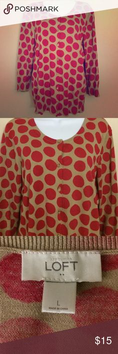 Loft Polka Dot Cardigan In excellent condition. Tan cardigan with pink polka dots. LOFT Sweaters Cardigans