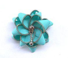 zipper brooch, cyan flower,  Zipper Pin. 2.8 in/ 7 cm,eco friendly, recycled jewelry via Etsy