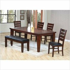 Bundle-46 Dixon Dining Set with Leaf Extension in Oak Finish (4 Pieces) by Wildon Home. $785.92. [***INCLUDED IN THIS SET: (1)Dixon Dining Table, (1)Dixon Upholstered Kitchen Bench, (2)Dixon Side Chair] Features: -Casual style.-Tables feature unique groove planked tops. Includes: -Set includes table, four side chairs and upholstered bench. Construction: -Constructed from hardwood solids and birch veneers. Color/Finish: -Hardwood solids and birch veneers in a rus...