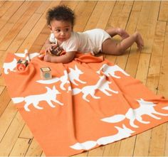 knit fox blanket // at Darling Clementine