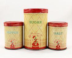 Vintage Home Kitchen Decor - Set Of Rustic Sugar, Salt & Pepper Shaker Tins