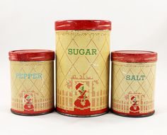 1000 images about vintage tins metal containers on for Retro kitchen set of 6 spice tins