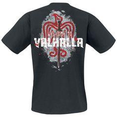"""#TShirt uomo nera """"Welcome to Valhalla"""" di #Vikings con stampa su fronte e retro."""