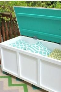 DIY deck box- YES!  Could store the grill, extension cords, grilling or gardening tools.  Could weatherproof with waterseal.  Another form of seating as well.