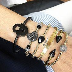 Set By Vila Veloni Black Pearl Bracelets
