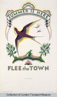 Vintage London Transport poster, 1926: Artist Irene Fawkes.