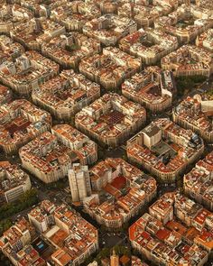 "Barcelona. Notice that Gaudi and Guell talked them into NO square blocks. All of the blocks are shaved off at each corner so that there are 'MINI-town squares"" at each corner More"