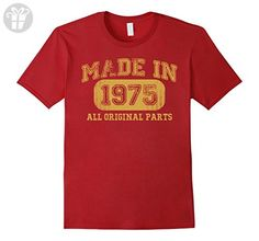 Men's Born in 1975 Tshirt 42th Birthday Gifts 42 yrs Years Made in 3XL Cranberry - Birthday shirts (*Amazon Partner-Link)