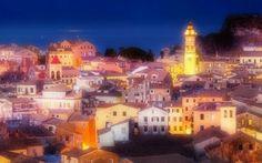 Corfu Town, Boat Tours, Four Square, Paris Skyline, Romantic, Colours, Mansions, Architecture, House Styles