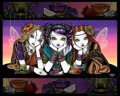 Té para tres tripletes Rainbow Fairy KiKi partido 8 x 10 firmado imprimir