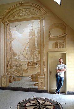 44 Mural Wallpaper That Look Fantastic - Interior Design 3d Wall Painting, Faux Painting, Wall Paintings, Arte Judaica, Grisaille, Contemporary Wall Art, 3d Prints, Mural Art, 3d Wall Murals
