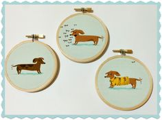 Hoop art from Heather Ross fabric. A trio of dachshunds.