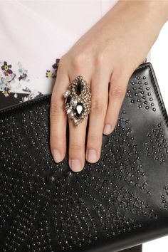 Erickson Beamon | + Aerin Swarovski crystal cocktail ring | NET-A-PORTER.COM
