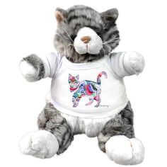 Claudia Sanchez Stuffed plush grey cat - Elliot Grey Cats, All Art, Original Artwork, Plush, Teddy Bear, Animals, Things To Sell, Gray Cats, Animales