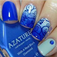 Azure nails, Blue nails ideas, Bright shellac, Ombre nails, Ombre short nails, overflow nails, Pattern nails, Sea nails