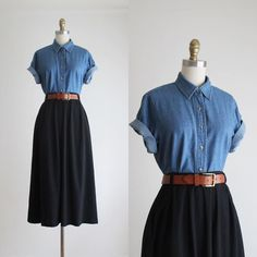 new in the shop + denim work shirt & flared midi skirt (sold) 1919 Vintage on in. Modest Outfits, Skirt Outfits, Modest Fashion, Cool Outfits, Casual Outfits, Denim Shirt Dress Outfit, Fashion Today, 90s Fashion, Korean Fashion