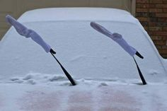 Cover windshield wipers with old socks to keep them snow and ice free!