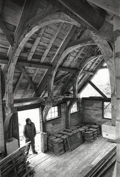 Cruck frames, common in England, make use of naturally curved timbers.