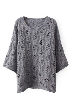 ROMWE | Hollow-out Cropped Grey Jumper, The Latest Street Fashion