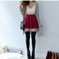 Here is Long Socks Outfit Idea for you. Long Socks Outfit knee high socks for women simple and sexy outfit ideas Long Socks Teen Fashion Outfits, Cute Fashion, Look Fashion, Outfits For Teens, Korean Fashion, Paris Fashion, Fashion Beauty, Cute Casual Outfits, Girly Outfits