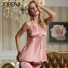 XIFENNI Brand Summer Silk Women Pyjamas Sets Solid Sleeveless Lace Lingerie Sleepwear Pajamas PJS Sets >>> Learn more by visiting the image link.