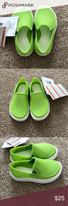 Toddler Crocs Crocs Citi Lane Roka slip ons in Volt Green. Love these shoes, but they're too narrow for my son. Brand new with tags. CROCS Shoes Sandals & Flip Flops