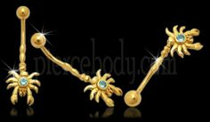 Jeweled Crab Dangling 14K Gold Belly Ring