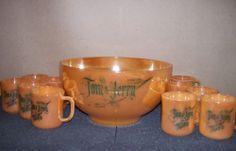 VINTAGE FIRE KING PEACH LUSTRE TOM & JERRY PUNCH BOWL EGG NOG SET 10 CUPS 1950'S