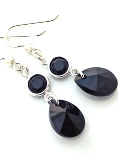 Long Black Earrings Silver and Black  Black Pendant by UrbanClink, $23.50