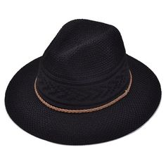 Breathable Braided Rope Straw Jazz Hat (24 BRL) ❤ liked on Polyvore featuring accessories, hats and straw hats