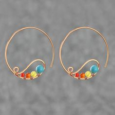 copper wiring hoop Earring handmade ani designs I wonder how my skin would react to copper? Copper Jewelry, Wire Jewelry, Jewelry Crafts, Beaded Jewelry, Jewelery, Jewelry Art, Jewelry Design, Fashion Jewelry, Copper Wire