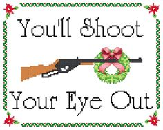 A Christmas Story Inspired BB Gun Shoot Your Eye by  KnerdlyKnits Another good pattern to try by sight.