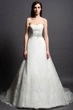 beautiful organza overlay strapless sweetheart a-line bridal gown