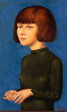 Otto Dix, Retrato de una joven (Erni), 1928. Técnica mixta sobre tabla, 34.5 x 21.5 cm, Fundación Otto Dix, Vaduz, Liechtenstein