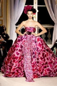 "Giambattista Valli: fantastic spring color, show-stopping volume. Chose this gown as runner-up in ""fantasy red carpet"" for Audra."