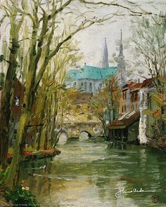 Thomas Kinkade - Chartres  1995 (My God he painted every church, didn't he...)