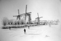 Windmill Drawing, Windmill Art, Cone Cell, Winter Drawings, Landscape Drawings, Winter Landscape, Sailing Ships, Painting & Drawing, Sketching
