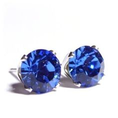 Sparkling 925 Sterling Silver Stud Earrings set with Sapphire Blue Swarovski Crystal Stones. Gift Box. Beautiful jewellery for very special people.#jewellery #earrings