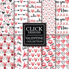 Valentine Digital Paper: VALENTINE WATERCOLOR by ClickDesigns