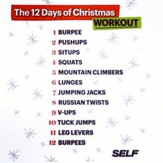 12 Days of Christmas Workout - round 1 burpee. round 3 sit-ups, 2 pushups, 1 burpee… etc. Fitness Tips, Fitness Motivation, Health Fitness, Fitness Exercises, Fitness Fun, Workout Fitness, Yoga Fitness, Boot Camp, Hiit